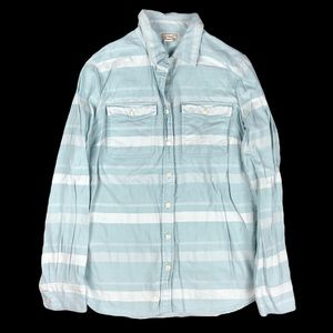 J. Crew Blue Striped Flannel Shirt Size Small